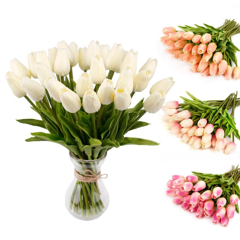 10PCS Artificial Fake Tulip Flower Silk Floral Bouquet Wedding Home Garden Decor