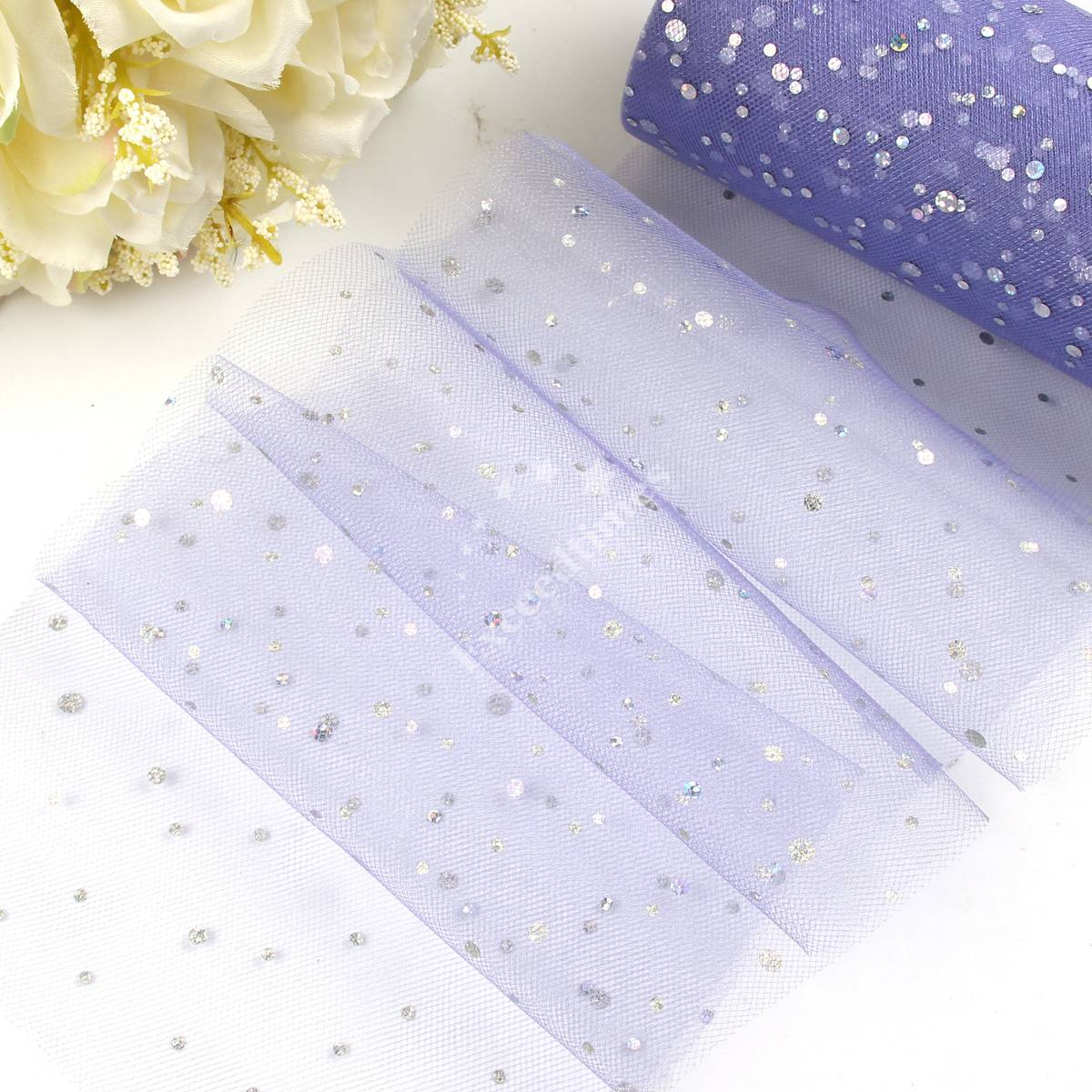 "6/"" 25Yd Sequin Tutu Dress Tulle Roll Fabric Craft Soft Bridal Trim Wedding Favor"