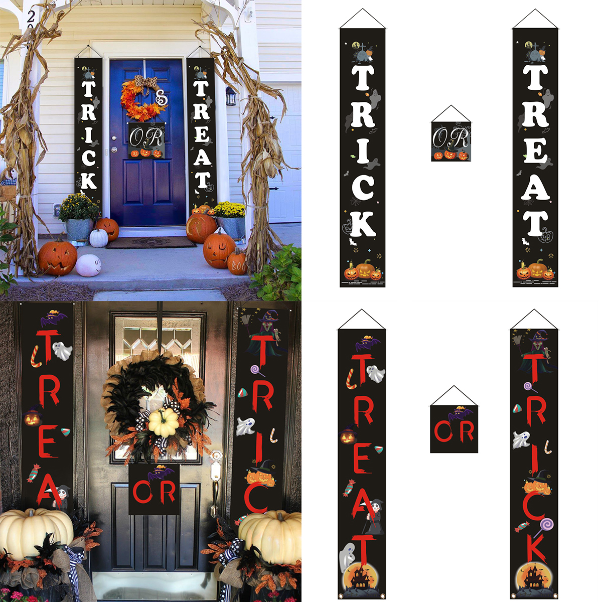Details About 3PCS Halloween Decorations Trick Or Treat Banner Party Wall  Door Hanging Sign