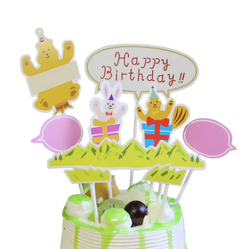 Happy Birthday Cupcake Topper Cake Flags Baby Shower Kids Party DIY Decoration