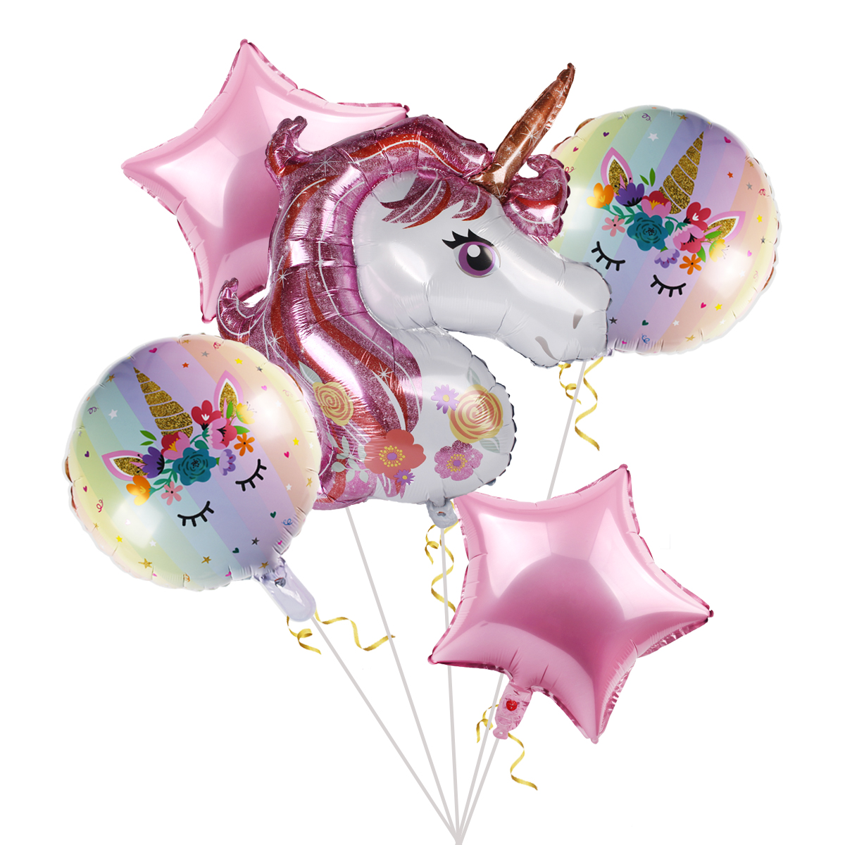 6PCS Unicorn Foil Balloons Set 1st Kids Baby Shower Happy Birthday Party Decor