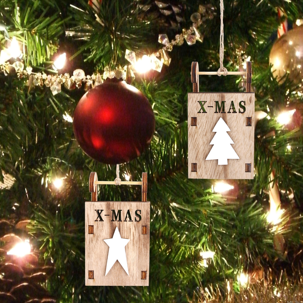 xmas tree supply sled wooden hanging ornaments merry christmas decorations home - Merry Christmas Decorations
