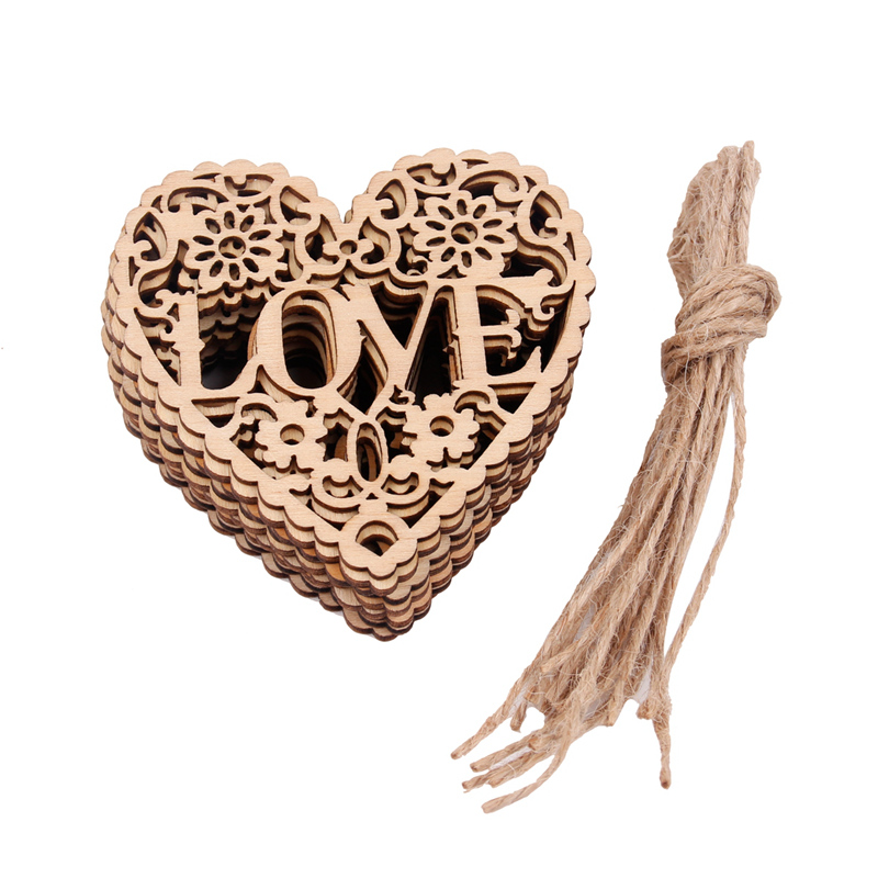 V58 10x Wooden I LOVE YOU CLOUD Embellishment HANGING Decoration HEART Shape