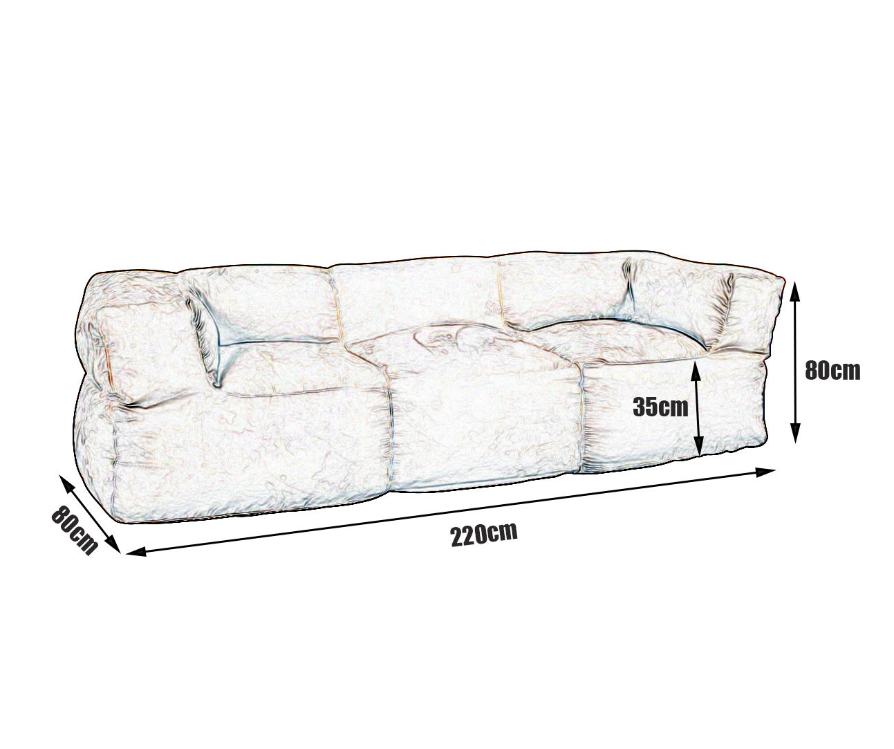 New 3 Seater Couch Sofa Bean Bag Cover Soft Suede Beige Modern Design BB3PBGE