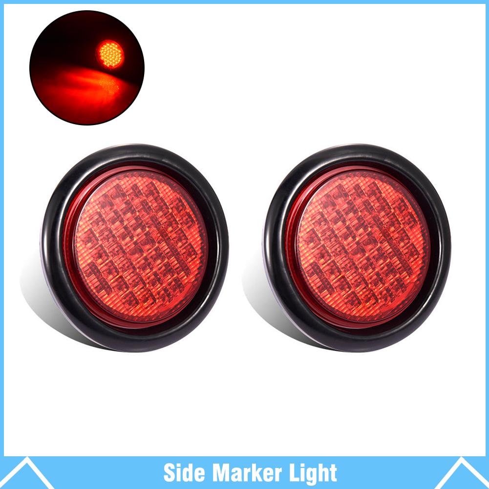 "2X AMBER 4/"" Round 12 LED Marker Stop Turn Tail Light Flush Mount Truck Trailer"