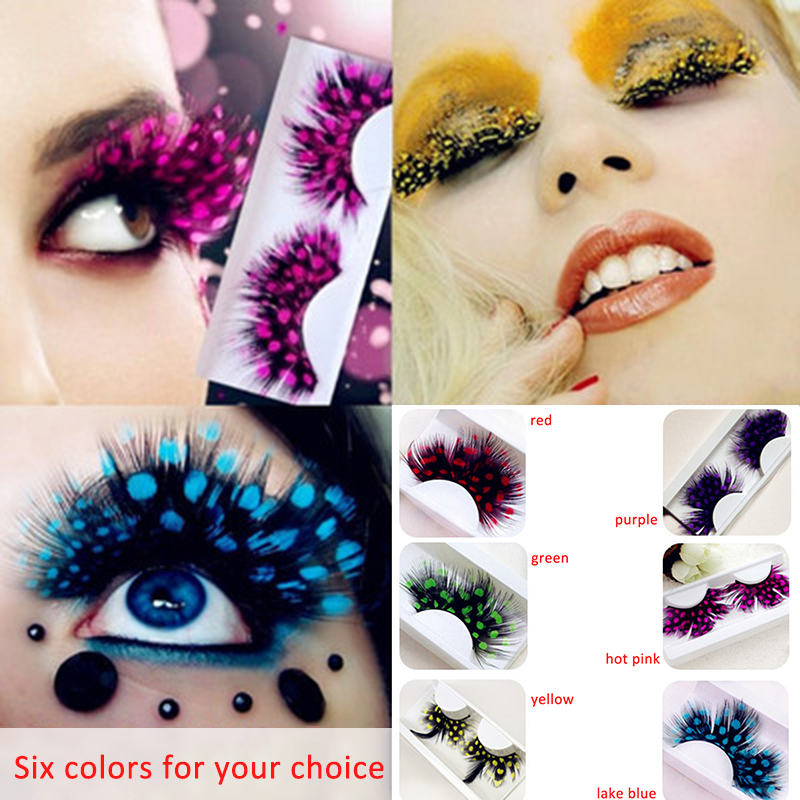 Long Feather False Fake Eyelashes Eye Lashes Halloween Fancy Dress
