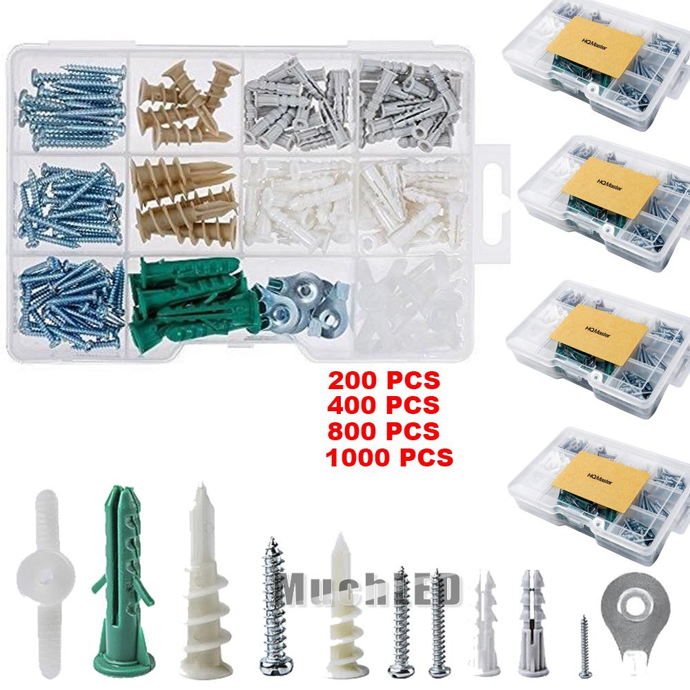 Vastar 1000 Pieces Drywall and Hollow-wall Anchor Assortment Kit Anchors Screws