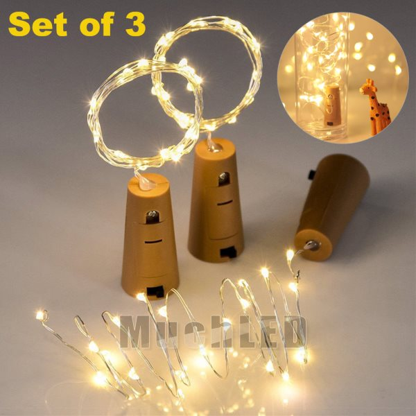 Details About 3pcs 20 Led Bottle Cork Lights Copper Wire String Lights 6 6ft Battery Operated