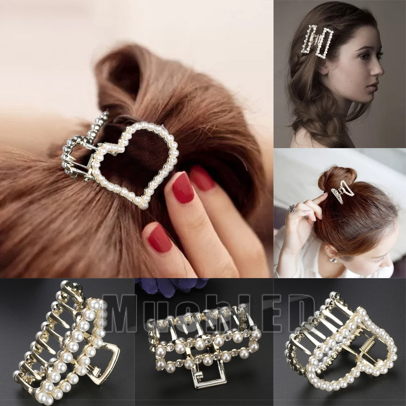 Metal Heart Shape Hair Claw Clip Jewelry Gift For Women Girl Gold Silver New S