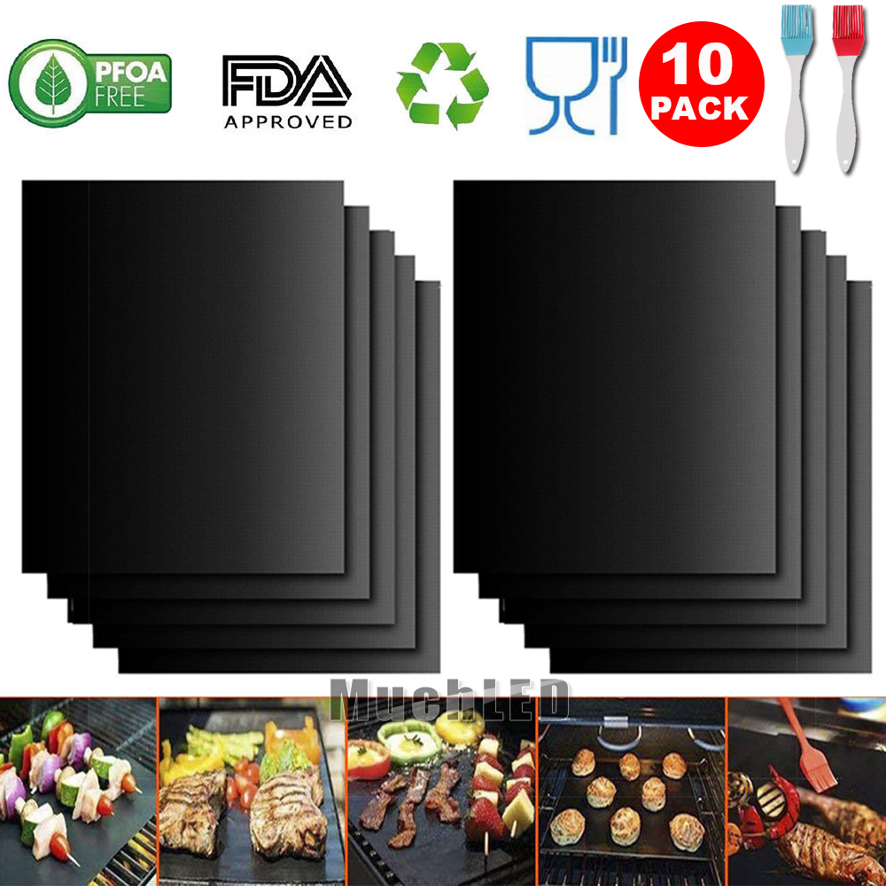 Set Of 10 BBQ Grill Mat Non-stick Pad for Gas Easy Bake Cook Grate Cover Outdoor