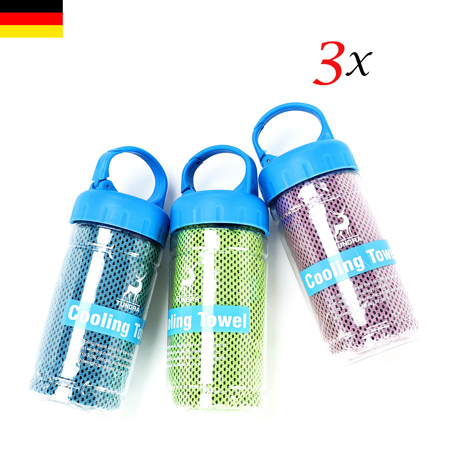 Towel Fitness Handtuch: 3X Sporthandtuch Fitness Cooling Towel Mit Flasche