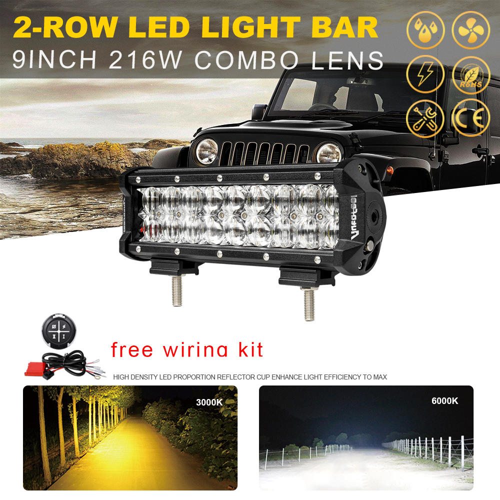 216w 9inch Led Work Light Bar Osram Combo Offroad 4wd Wiring Harness 1995 F350 4x4 Vs 12 15