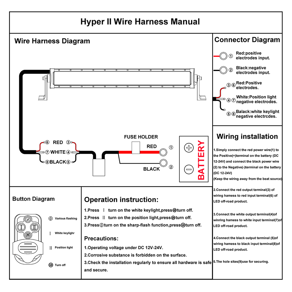 wiring harness switch relay kit for led driving light bar suv atv rh ebay com