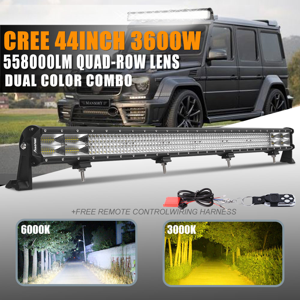 Cree 10d 44inch 3600w 4 row led light bar spot flood combo suv fog cree 10d 44inch 3600w 4 row led light bar spot flood combo suv fog driving lamp aloadofball Gallery