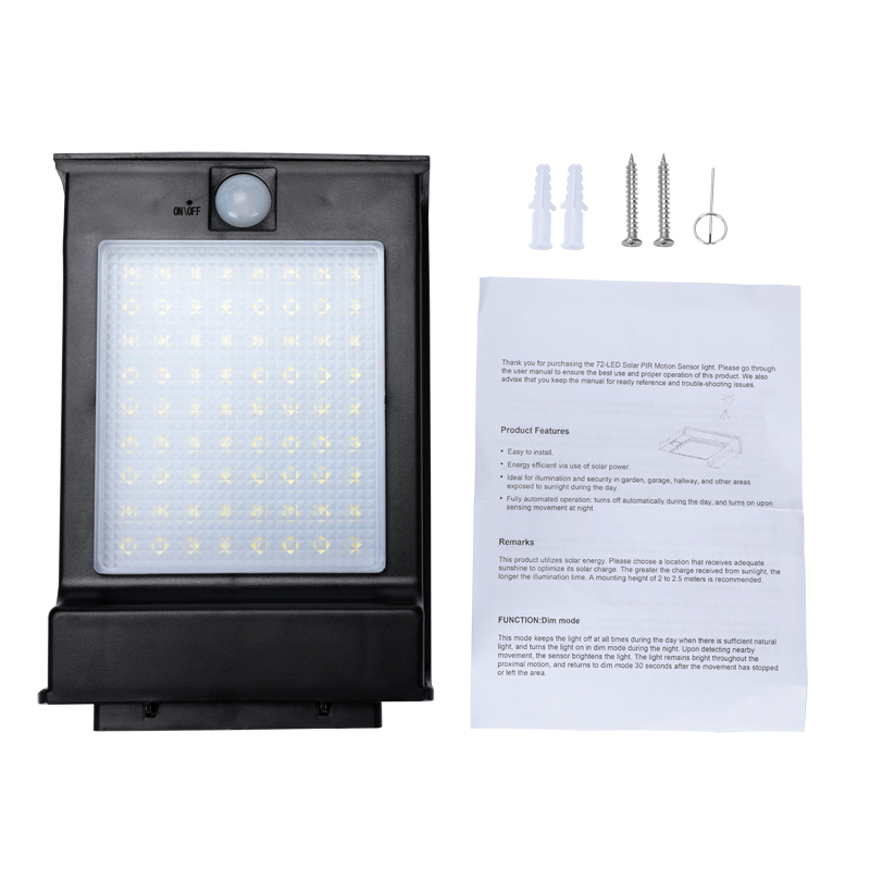 Details about 1-4pcs 72 LED Solar Power Gutter Security Wall Light Motion  Sensor Lamp Outdoor