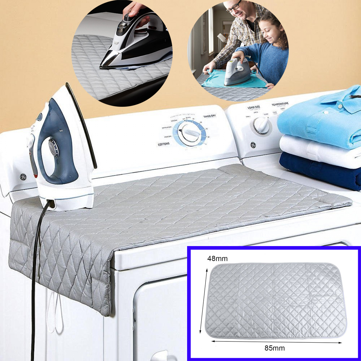 Magnetic Ironing Mat Laundry Pad Washer Dryer Cover Board Heat Resistant  Blanket