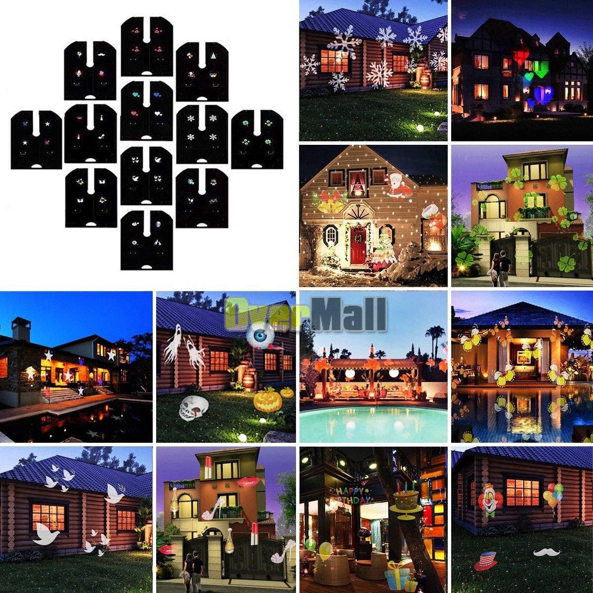 12 Pattern LED Moving Laser Projector Landscape Stage Light Xmas Party Outdoor