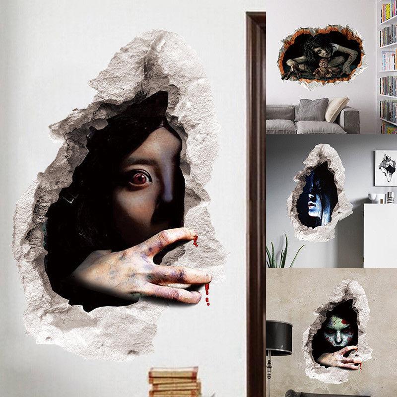3d broken wall sticker halloween horror floor vinyl removable decal