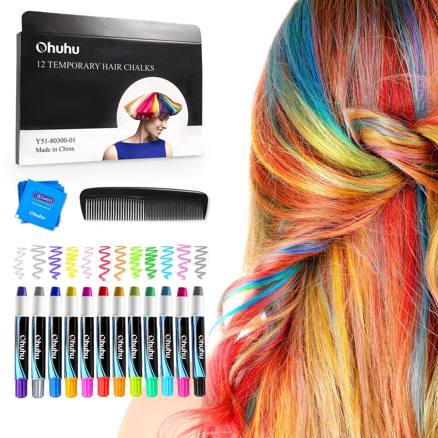 Details about Hair Chalk 12 Colors Temporary Hair Dye Marker for Kids  Washable Pen Teens Gift