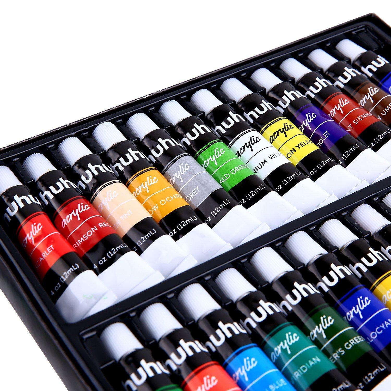 Ohuhu Acrylic Paint Set 24 Colors Artist Acrylic Painting Kit Nail