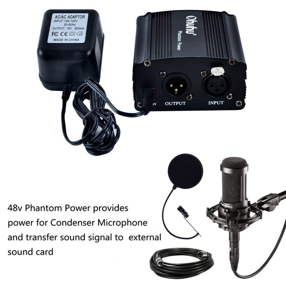 1channel Xlr 48v Phantom Power Supply For Studio Condenser Cable Wiring Microphone Us Adapter