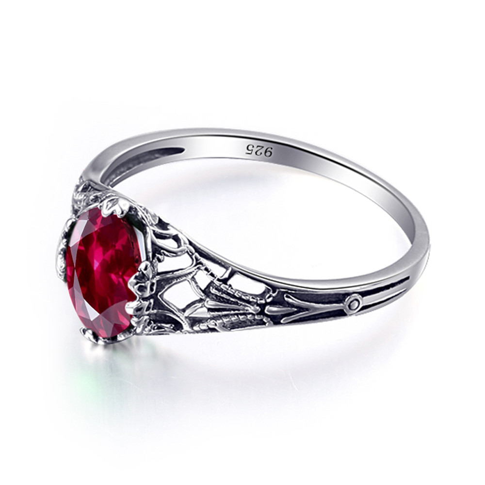 925 Sterling Silver Genuine Red Ruby Ring Handmade Ring Gold over Silver Ring Antique Finish Ring Wedding Jewelry Engagement Rings.R111-120
