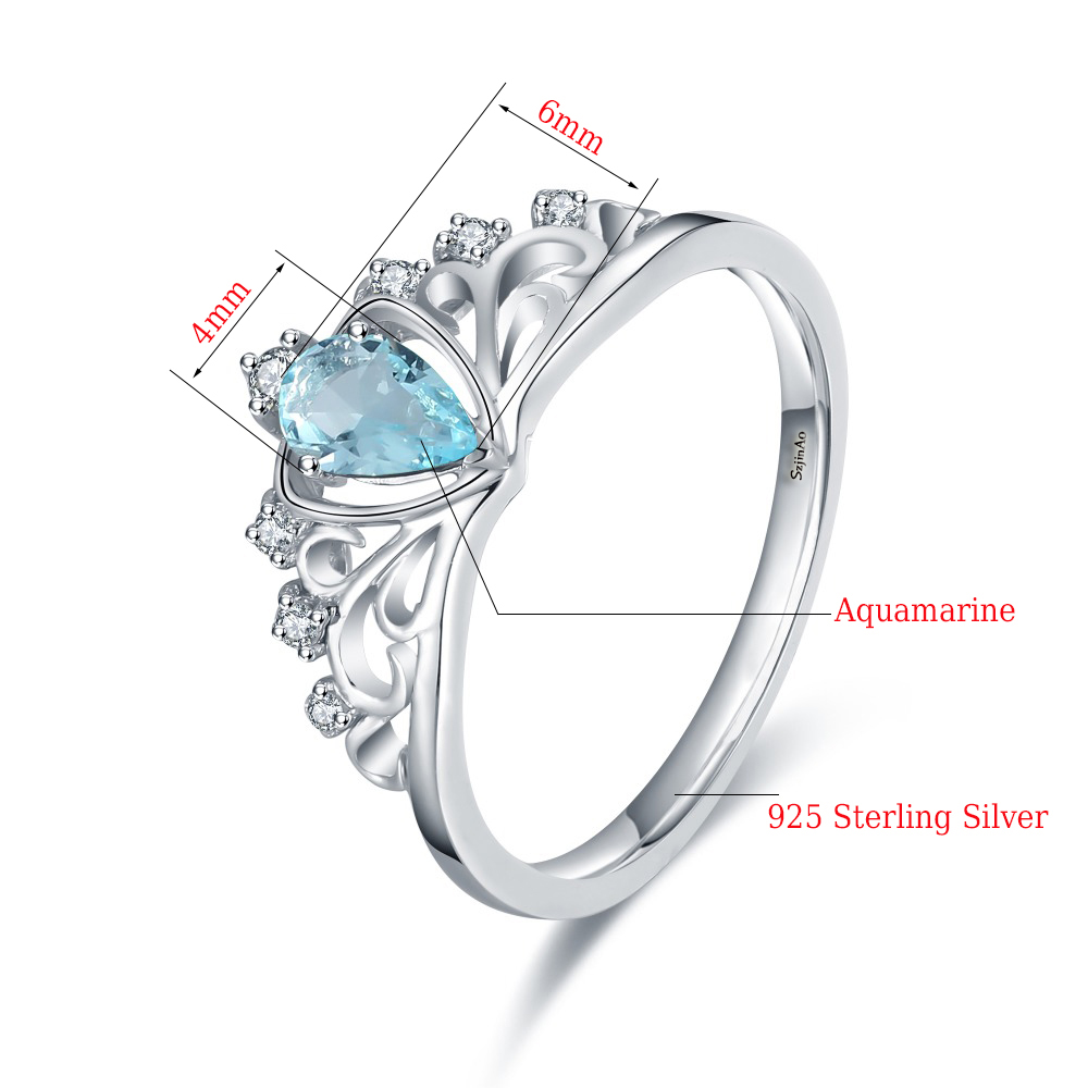 100 925 Silver Princess Queen Crown Wedding Ring Aquamarine Engagement Jewelry