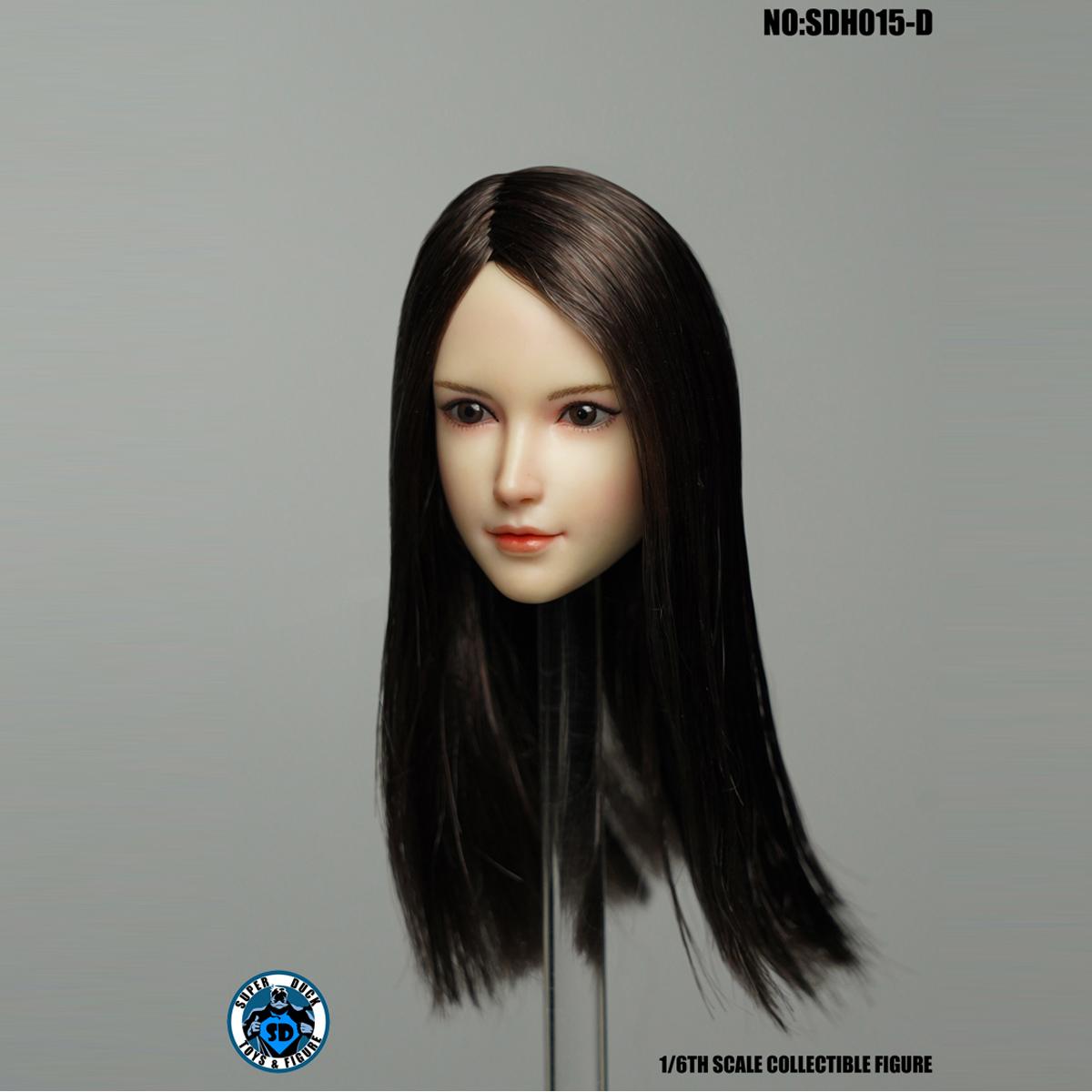 SUPER DUCK 1//6 SDH015 Pale Female Head Carving Black Hair Head Model F 12/'/' Body