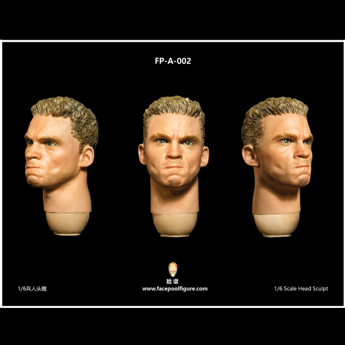 """1:6 FacepoolFigure FP-A-002  Head Carved w// Expression For 12/"""" Male Figure Body"""