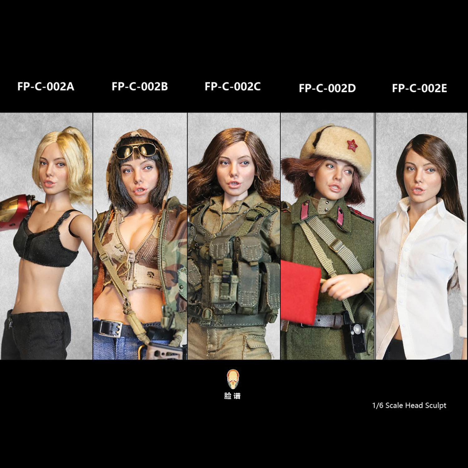 Facepoolfigure FP-C-002 D 1//6 Root Hair Female Head Sculpt with Expression