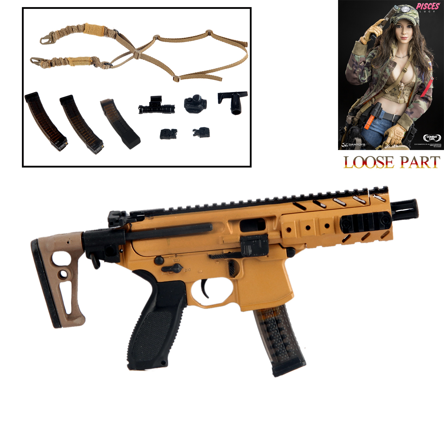 Details about DAMTOYS DCG004 1/6 Scale Combat Girl PISCES Lucy SIG MPX-K  Submachine GUN Rifle