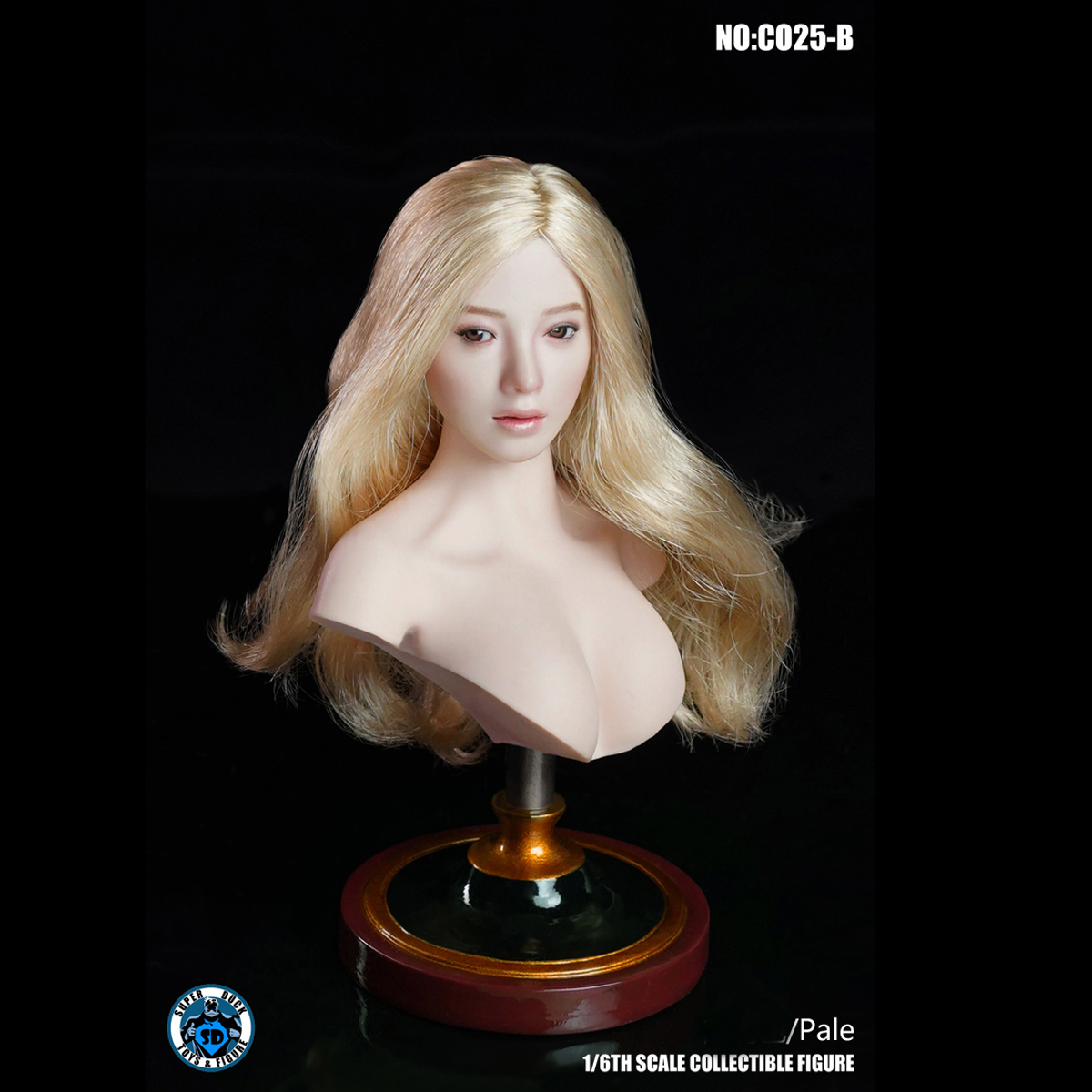 1//6 SUPER DUCK C025B Female Pale Skin Bust Display Stand Fit Girl Head Sculpt