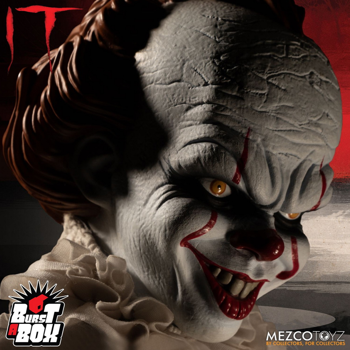 "Mezco Toyz 43022 Burst-A-Box Pennywise 14/"" Figure Prank Pop-up Box Collectible"