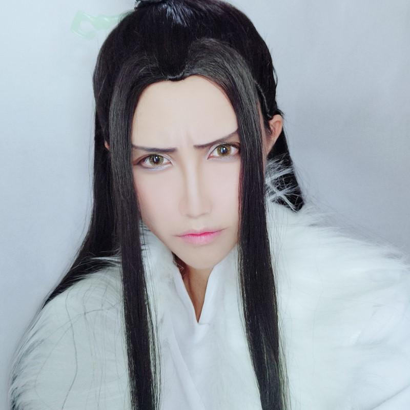 Grandmaster of Demonic Cultivation Jiang Cheng Cosplay Hair Wig with Ribbon CAP