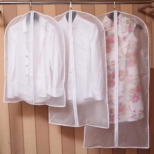 3Sizes Dress Suit Covers Garment Protection Plastic Storage Bag Coat  Protector