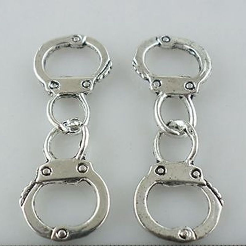 16//24pcs Tibetan Silver Charms Handcuffs Connectors Crafts Bead Making 11*31mm