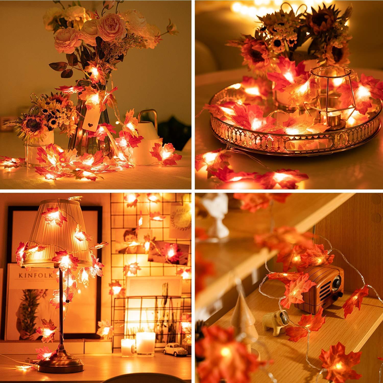 Fall Maple Leaves Fairy String Light 20 LED Autumn Leaf Lamp Garland Xmas Decor