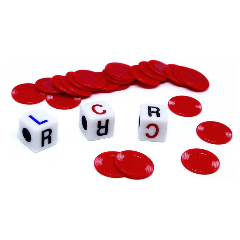 1 Set Acrylic Plastic Left Center Right Game Dice Multicolor Game Entertainment