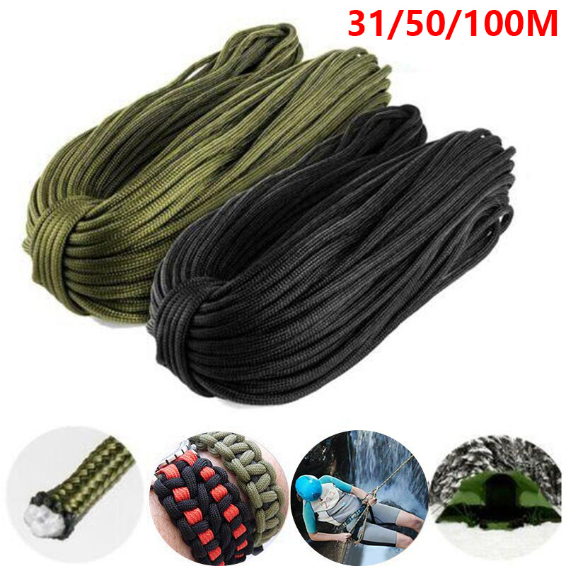 31-100M 4mm Outdoor 7 Strands 550 Paracord Reel Hiking Camping Survival Rope UK