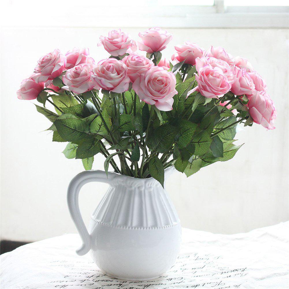Fake Wedding Flowers Uk: Rose Silk Artificial Flowers Fake Bouquet Long Stem