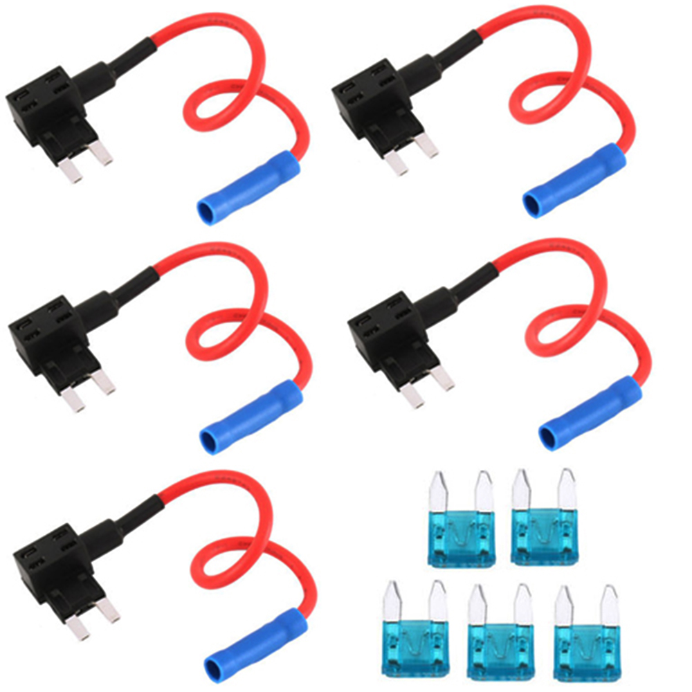 5 Pack Tap Add A Circuit Car Auto Atm Low Profile Blade Style Fuse Mini Holder 15a