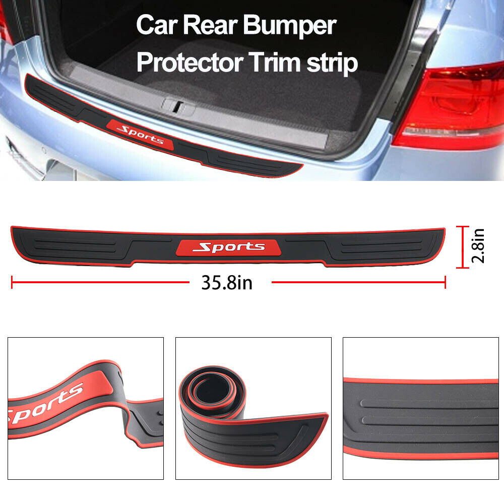 Car Rear Bumper Cover Scratch Protector Trunk Sill Scuff Plate Guard Rubber Pad