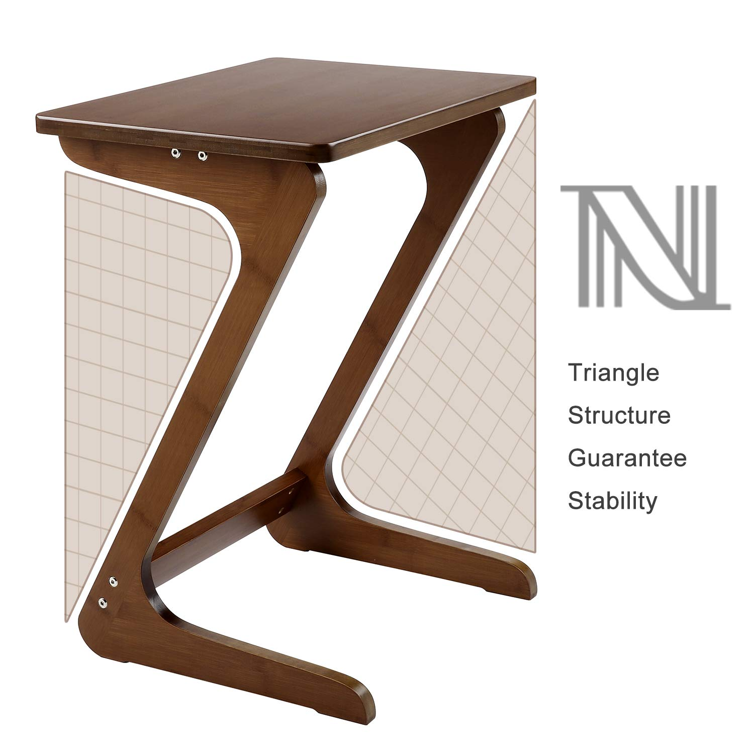 Cool Details About End Table Tv Tray Nnewvante Bamboo Sofa Table Snack Side Table Z Shape Walnut Uwap Interior Chair Design Uwaporg