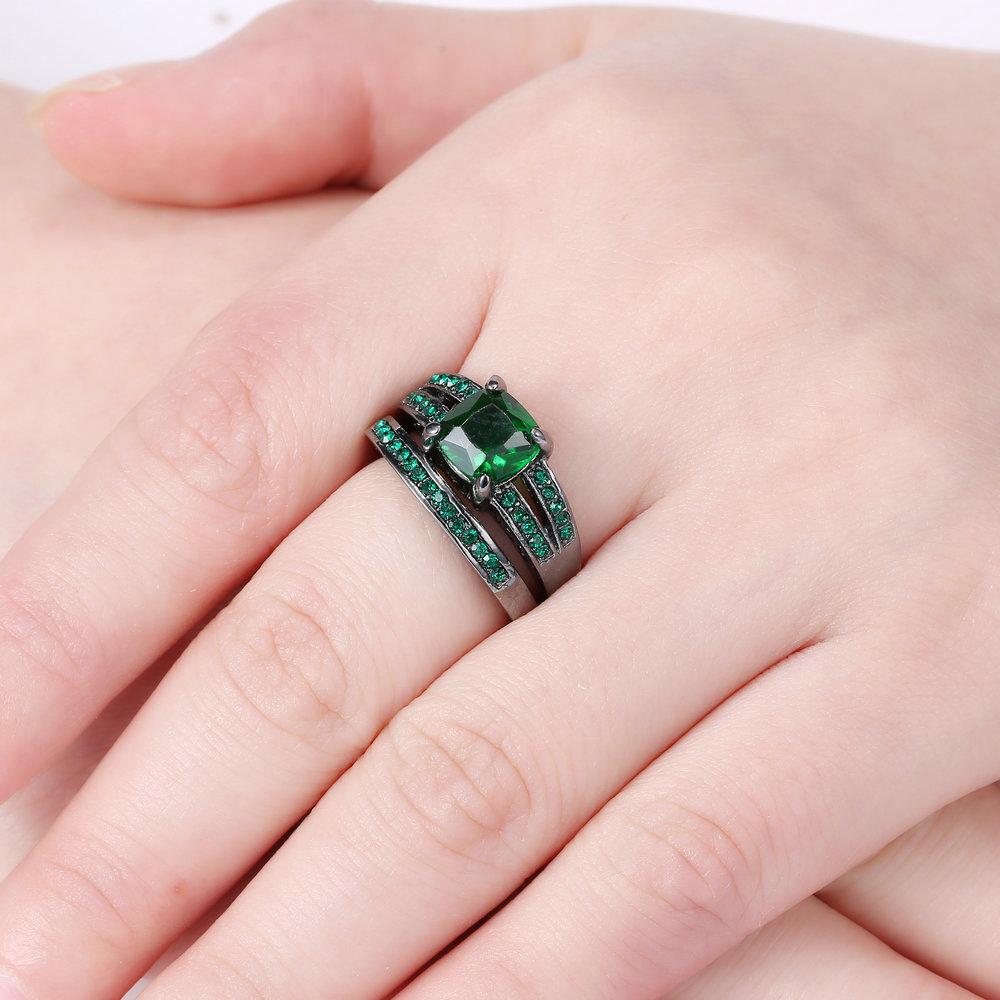 Size 7 Black Rhodium Wedding Ring Set Engagement Princess Cut ...