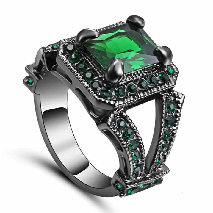 Wedding Size 9 Emerald Princess Cut Black Rhodium Plated Engagement Ring Gift