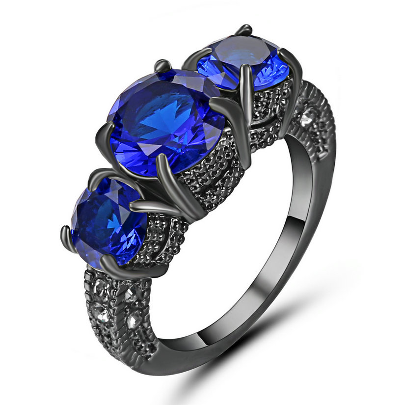 Details about  /Size 7 Rhodium Plated Blue Sapphire Wedding Ring Anniversary Christmas Mom Gift
