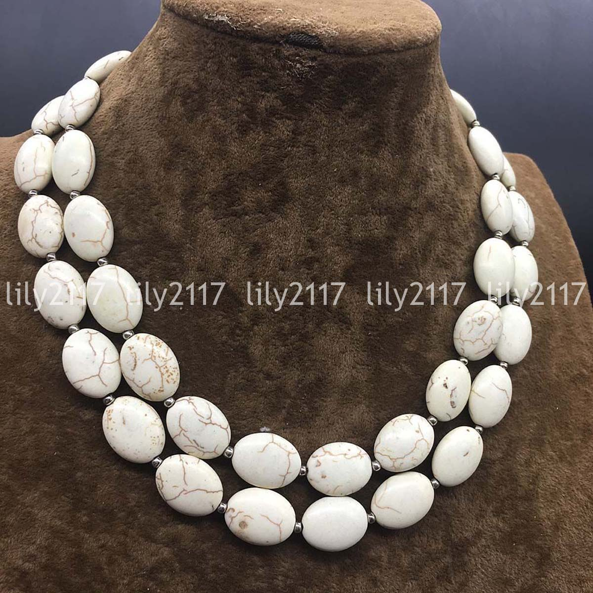 """new 13x18mm Natural White Jade Oval Gemstone Necklace 18/""""AAA"""