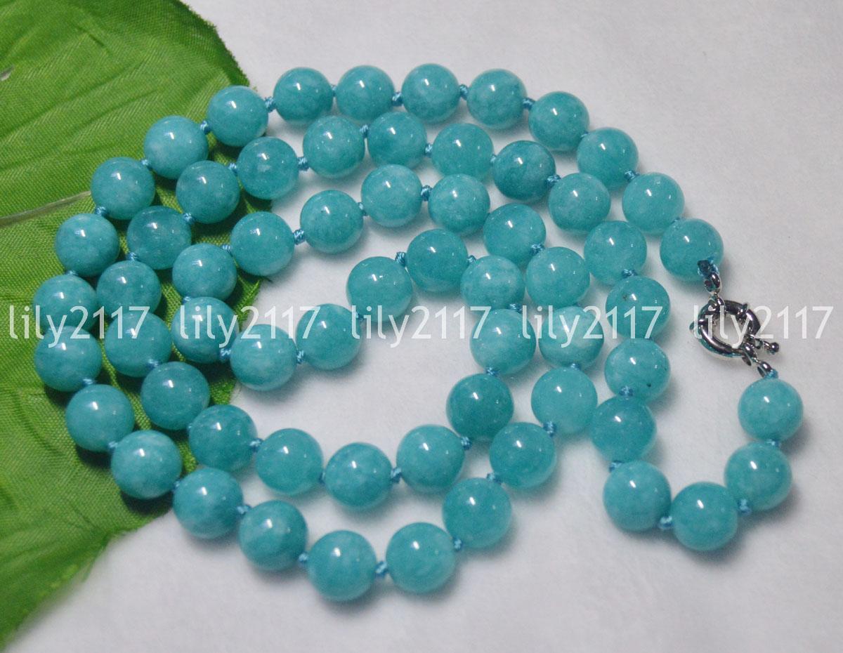 "Natural 10mm Blue Jade Round Gemstone Beads Necklace 36/"""
