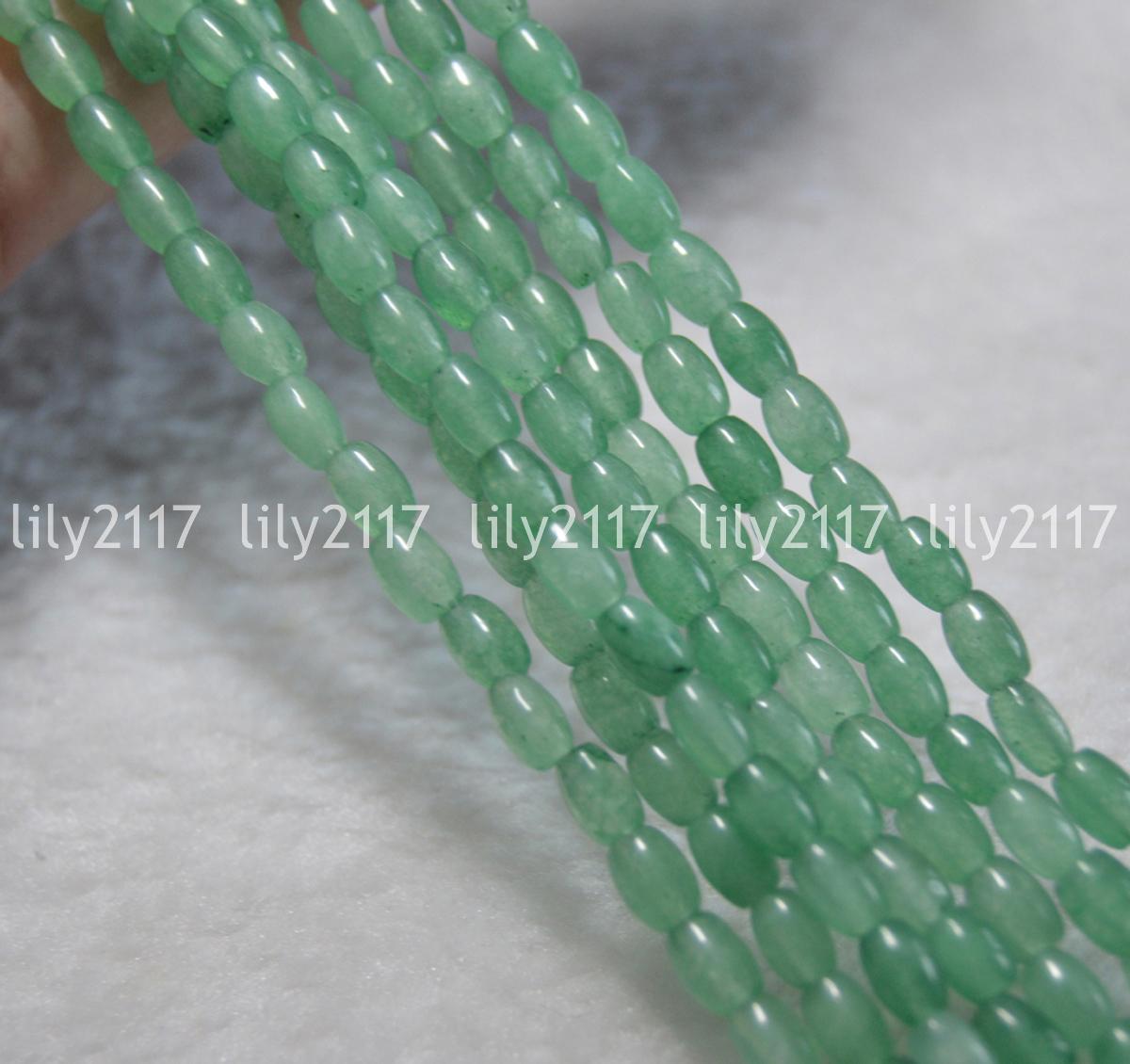 """Luz natural verde 4x6mm Esmeralda Piedras Preciosas arroz en forma suelta granos 15/"""" Y1705"""