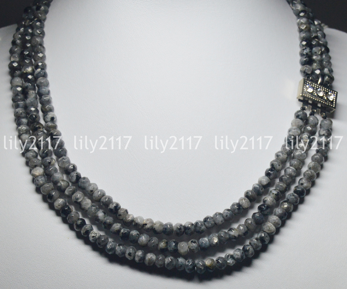 28# 2x4mm Faceted  Black Abacus beads roundel Gemstone Necklace 18/'/'